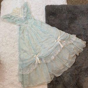 Gunne Sax Blue Floral Lace Prairie Dress